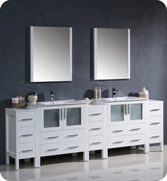 "Fresca FVN62-96WH-UNS Torino 96"" Double Sink Modern Bathroom Vanity with 3 Side Cabinets and Integrated Sinks in White"