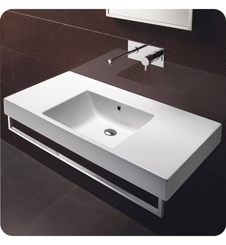 Catalano 110DO00-3 Zero Domino 100 Single Sink Washbasin With Faucet Holes: Three Holes