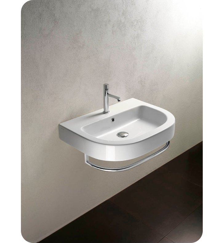 Catalano 167ZE00-3 Zero Tondo 67 Single Washbasin With Faucet Holes: Three Holes