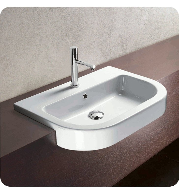 Catalano 1LSZE00-3 Zero Tondo 65 Single Washbasin With Faucet Holes: Three Holes
