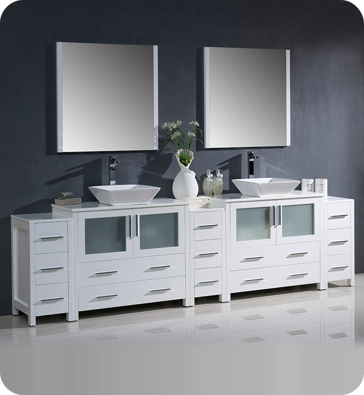 "Fresca FVN62-108WH-VSL Torino 108"" Double Sink Modern Bathroom Vanity with 3 Side Cabinets and Vessel Sinks in White"