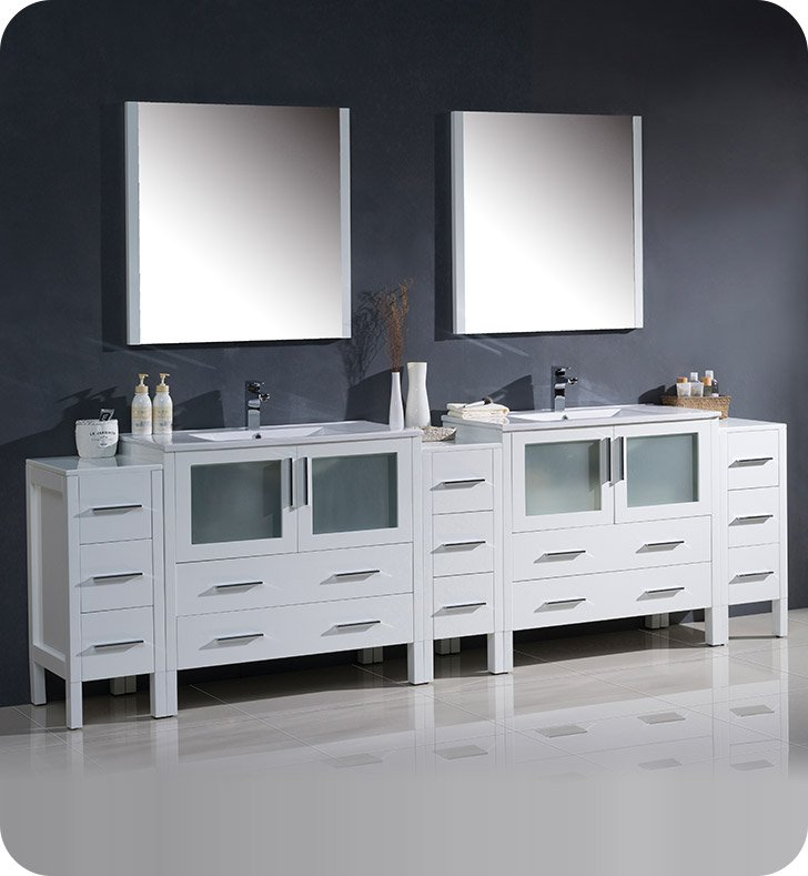 "Fresca FVN62-108WH-UNS Torino 108"" Double Sink Modern Bathroom Vanity with 3 Side Cabinets and Integrated Sinks in White"