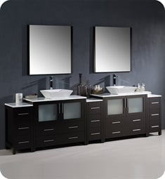 "Fresca FVN62-108ES-VSL Torino 108"" Double Sink Modern Bathroom Vanity with 3 Side Cabinets and Vessel Sinks in Espresso"
