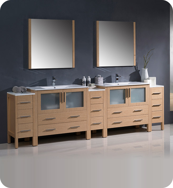 "Fresca FVN62-108LO-UNS Torino 108"" Double Sink Modern Bathroom Vanity with 3 Side Cabinets and Integrated Sinks in Light Oak"