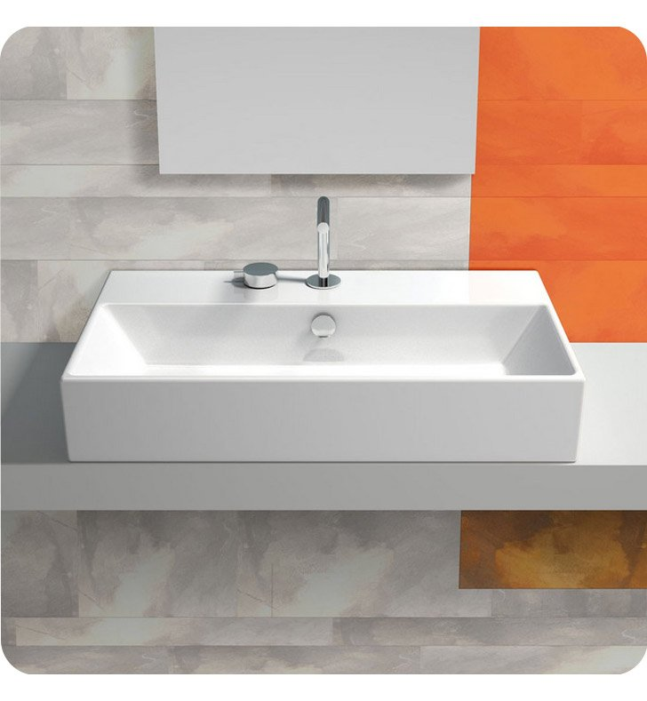 Catalano 170VNA00-3 Verso 70 Single Washbasin, Countertop With Finish: White And Faucet Holes: Three Holes