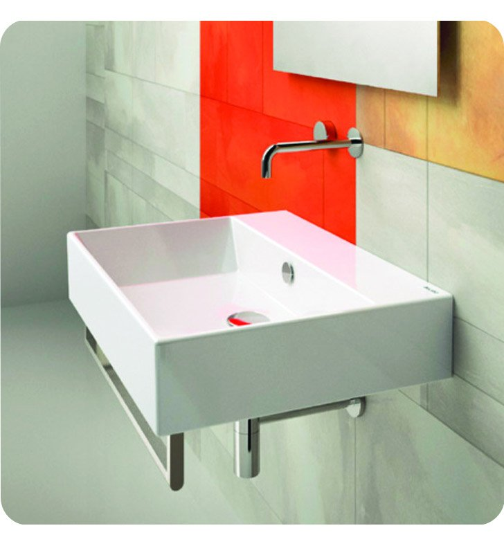 Catalano 155VN00-2 Verso 55 Single Washbasin Wall Hung With Faucet Holes: Two Holes