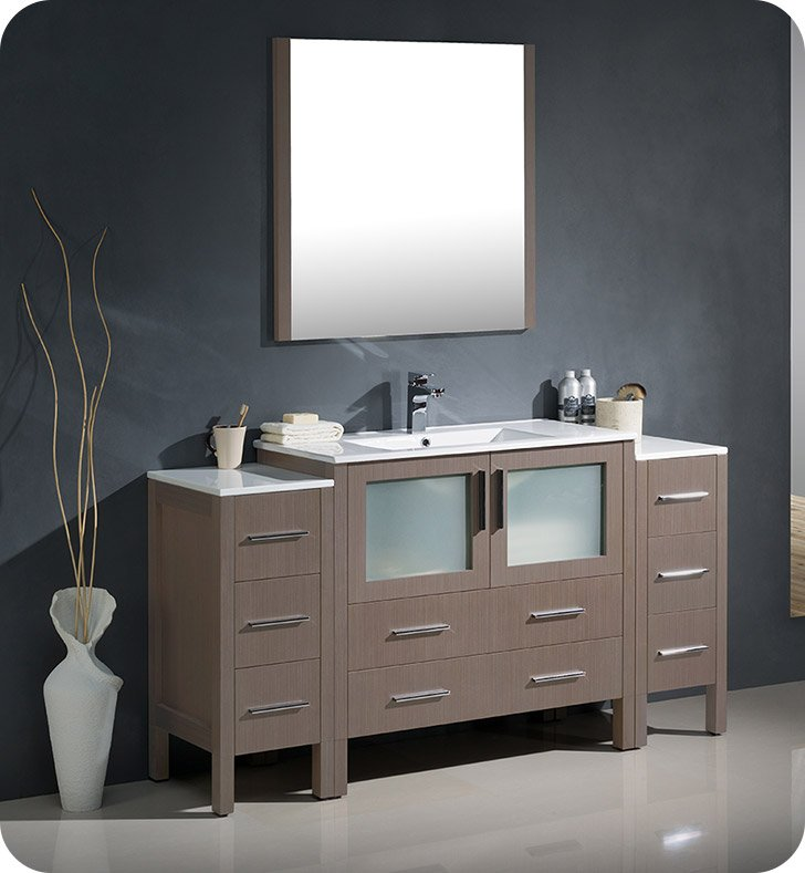 "Fresca FVN62-123612GO-UNS Torino 60"" Modern Bathroom Vanity with 2 Side Cabinets and Integrated Sink in Gray Oak"