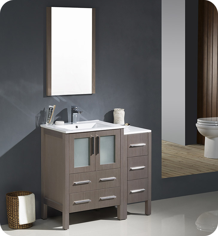 "Fresca FVN62-2412GO-UNS Torino 36"" Modern Bathroom Vanity with Side Cabinet and Integrated Sinks in Gray Oak"