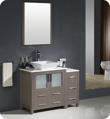 "Fresca FVN62-3012GO-VSL Torino 42"" Modern Bathroom Vanity with Side Cabinet and Vessel Sink in Gray Oak"