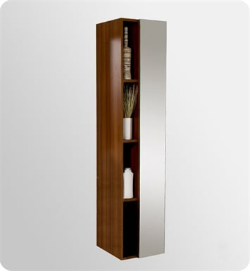 Fresca FST8070TK Teak Bathroom Linen Side Cabinet with 4 Cubby Holes and Mirror