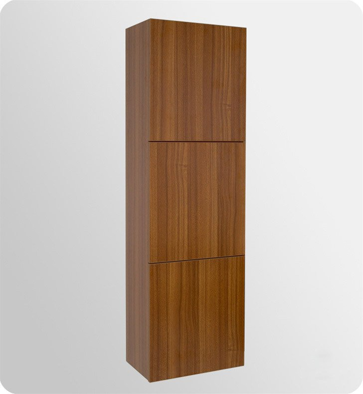 Fresca FST8090TK Teak Bathroom Linen Side Cabinet with 3 Large Storage Areas