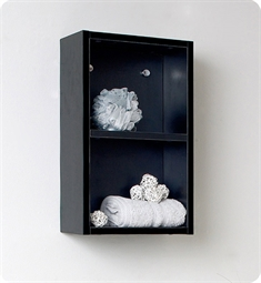 Fresca FST8092BW Black Bathroom Linen Side Cabinet with 2 Open Storage Areas