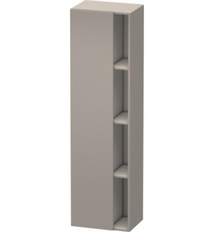 "Duravit DS1249L5353 DuraStyle 14 1/8"" Wall Mount Tall Linen Cabinet with One Door With Body Finish: Chestnut Dark And Sensor Switch: Left Sensor Switch And Front and Countertop Finish: Chestnut Dark"