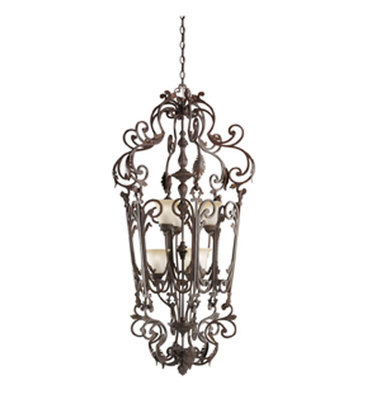 Kichler 2471CZ Wilton Collection Chandelier Foyer Cage 6 Light in Carre Bronze