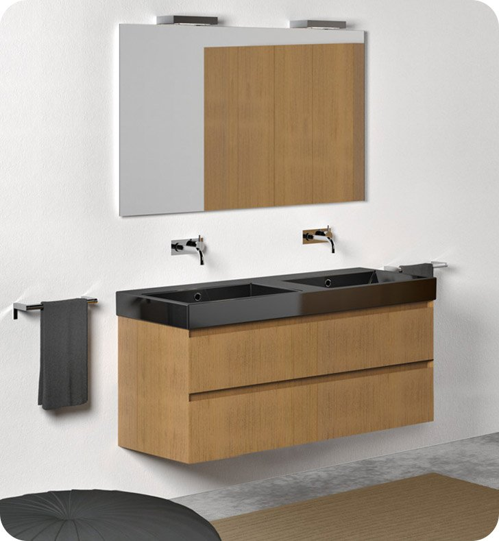 Catalano ZO1252DR-V04 Zero 125 Vanity Base Cabinet with Two Drawers With Finish: Ebony Safari (Wood Veneer)