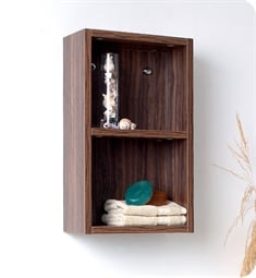 Fresca FST8092GW Walnut Bathroom Linen Side Cabinet with 2 Open Storage Areas