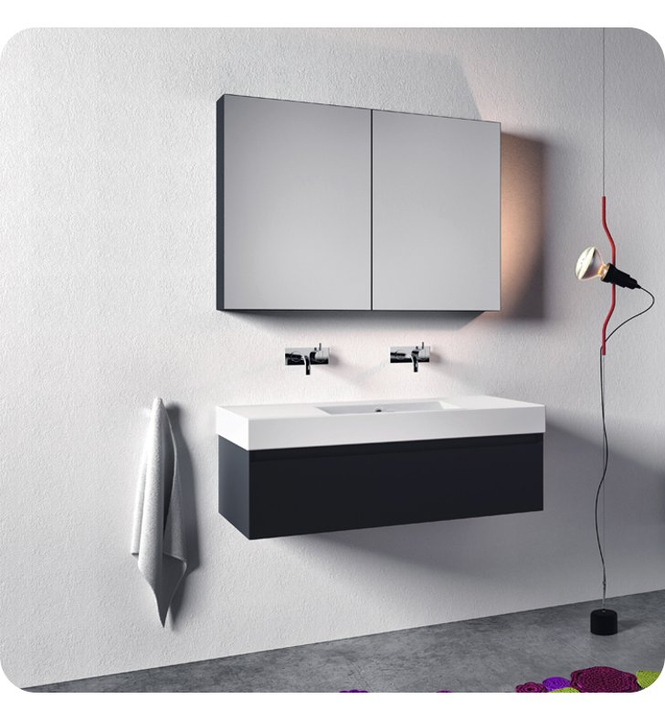 Catalano ZD1251DR-P18 Zero Domino 125 Vanity Base Cabinet with One Drawer With Finish: Nero (Soft-Touch Laminate)