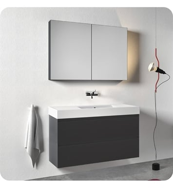 Catalano ZD1252DR-P18 Zero Domino 125 Vanity Base Cabinet with Two Drawers With Finish: Nero (Soft-Touch Laminate)