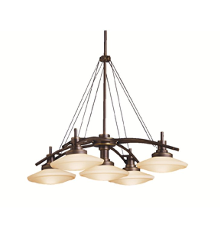 Kichler 2055OZ Structures Collection Chandelier 5 Light Halogen in Olde Bronze