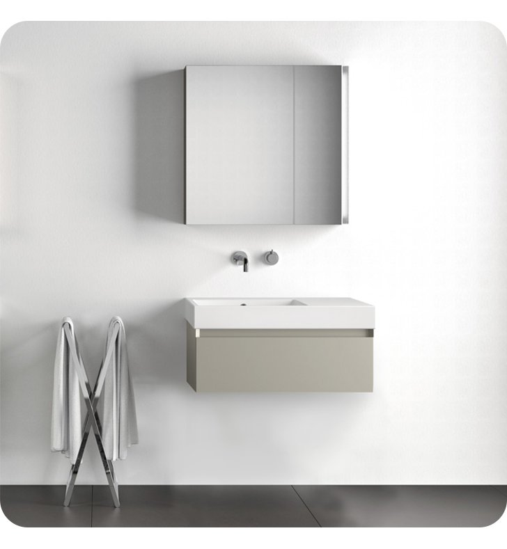 Catalano ZD0751DR-P72 Zero Domino 75 Vanity Base Cabinet with One Drawer With Finish: Agadir (Soft-Touch Laminate)