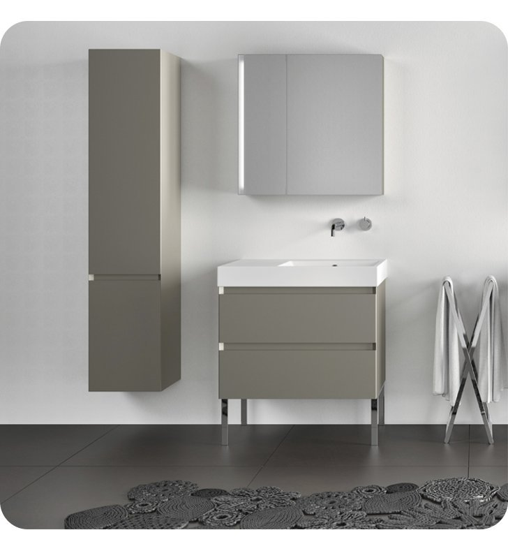 Catalano ZO0352DOR-P02 Zero Tall 35 Cabinet With Cabinet Hinge: Right Side Hinge And Finish: Grey Velvet (Pattern Laminate)
