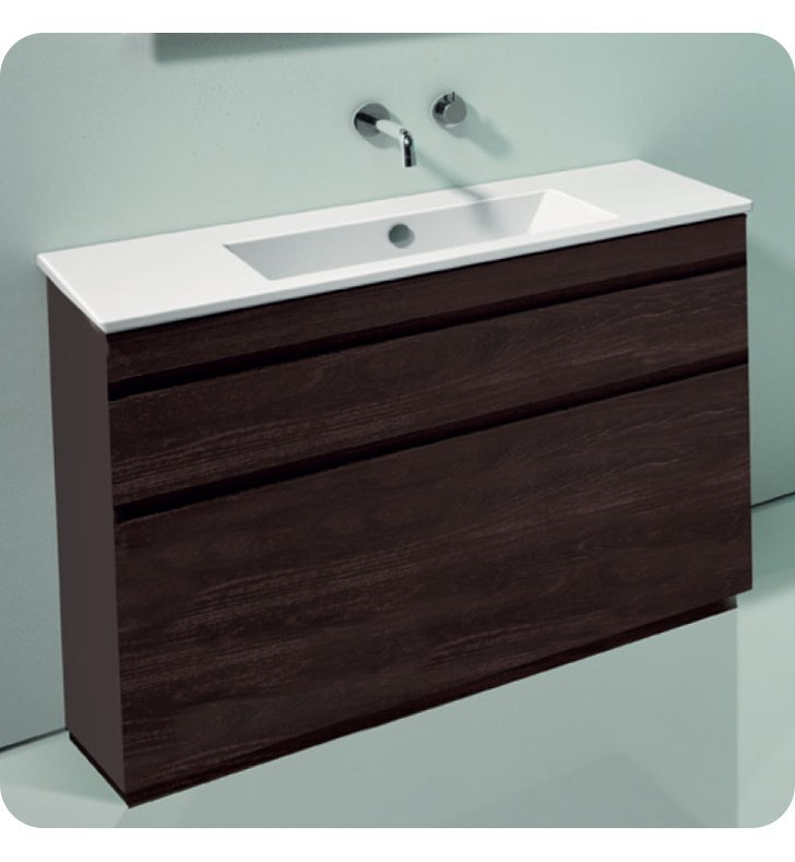 Catalano ST1052SDR-P08 Star 105 Vanity Base Cabinet with Two Drawers With Finish: Elevated Ebony High Gloss (Wood Grain Laminate)