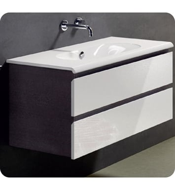 Catalano SF1002DR-P09 Sfera 100 Vanity Base Cabinet with Two Drawers With Finish: Frost White Flame (Pattern Laminate)