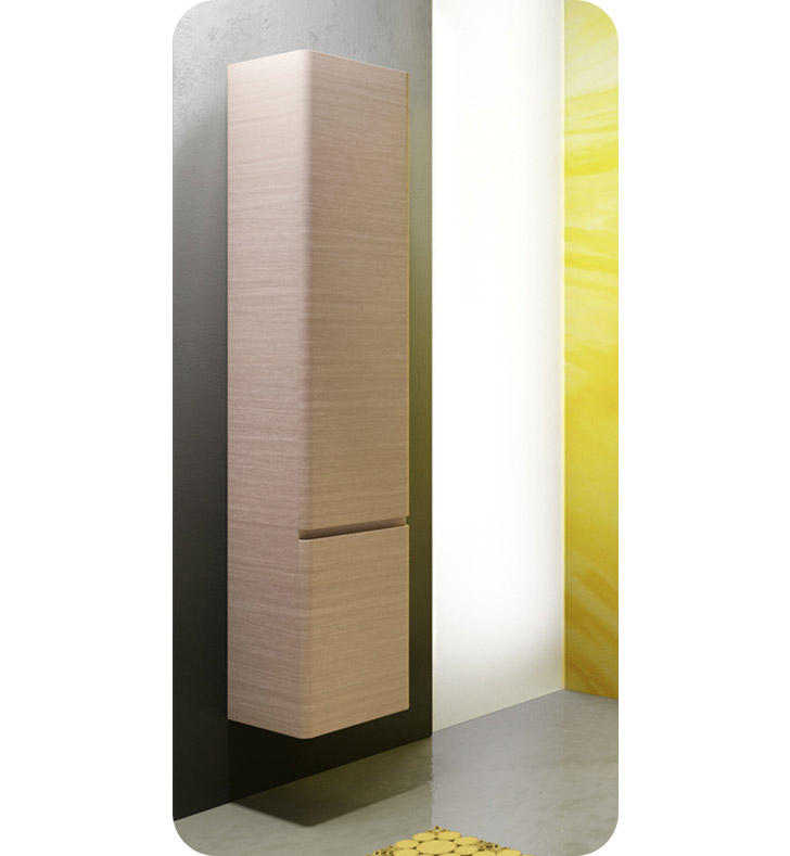 Catalano SF0352DOR-P06 Sfera Tall 35 Wall Cabinet With Cabinet Hinge: Right Side Hinge And Finish: Grey Oak Cross Curve (Wood Grain Laminate)