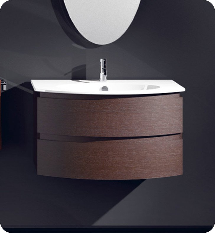 Catalano VE0802DR-P08 Velis 80 Vanity Base Cabinet with Two Drawers With Finish: Elevated Ebony High Gloss (Wood Grain Laminate)