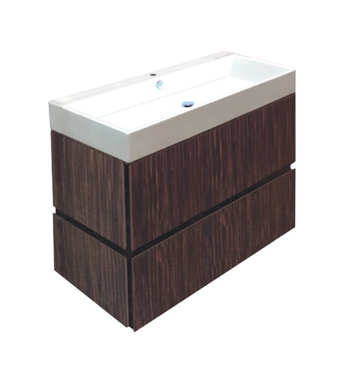 Catalano PM1002DR-P04 Premium 100 Vanity Base Cabinet with Two Drawers With Finish: Cornsilk Limosa Wave (Wood Grain Laminate)