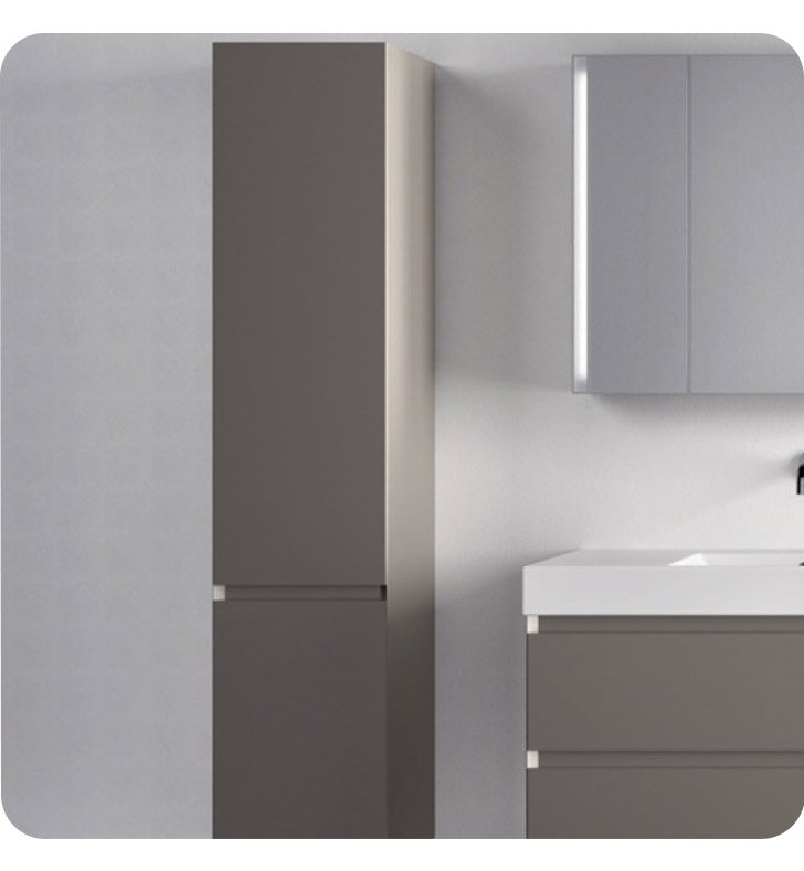 Catalano PM0352DOL-H04 Premium Tall 35 Cabinet With Cabinet Hinge: Left Side Hinge And Finish: Light Grey (High Gloss)
