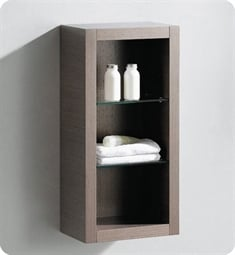 Fresca FST8130GO Gray Oak Bathroom Linen Side Cabinet with 2 Glass Shelves