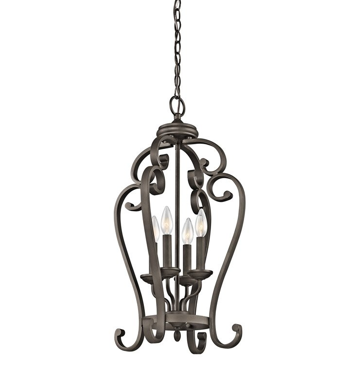 Kichler 43165OZ Monroe Collection Chandelier Foyer Cage 4 Light in Olde Bronze