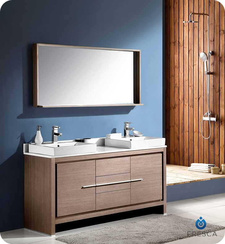 "Fresca Allier 60"" Modern Double Sink Bathroom Vanity in Gray Oak with Vessel Sinks"