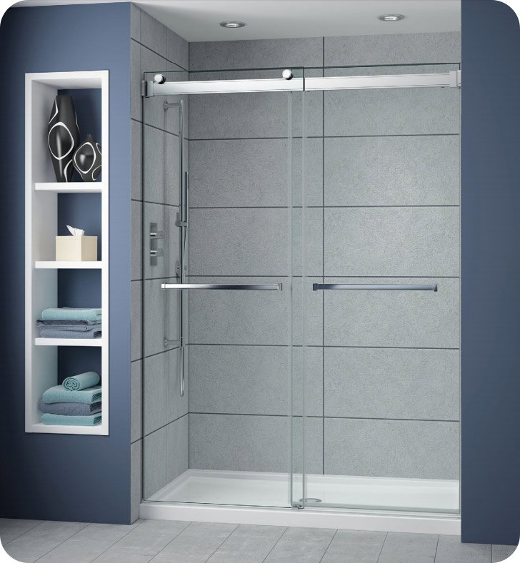 Fleurco np160 25 40 gemini plus frameless bypass 60 sliding shower doors with hardware finish - Shower glass protection ...
