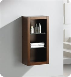 Fresca FST8130WG Wenge Brown Bathroom Linen Side Cabinet with 2 Glass Shelves