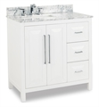 "Hardware Resources VAN104-36-T 36"" Bathroom Vanity with White Marble Top and Bowl by Jeffrey Alexander in White Finish"