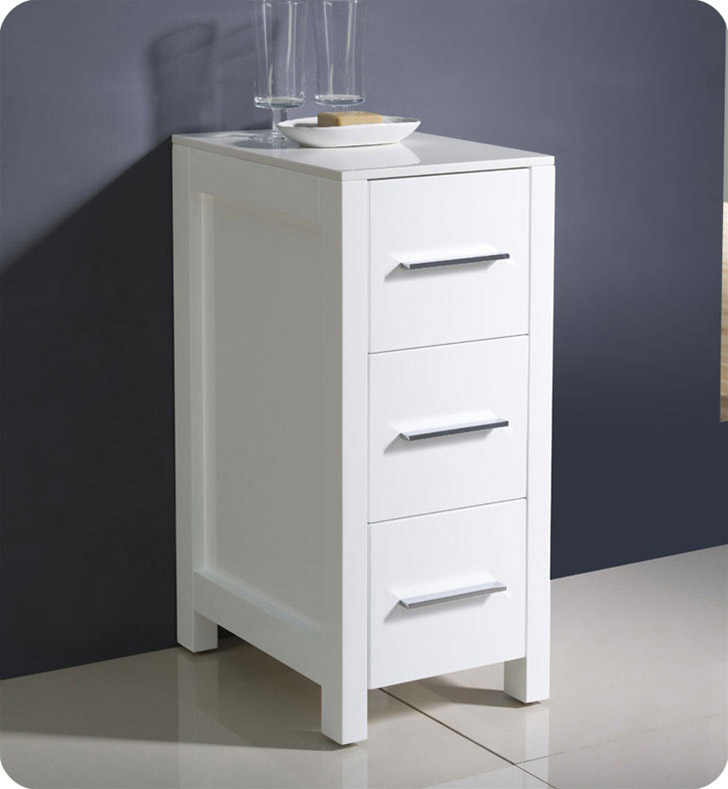 "Fresca FST6212WH Torino 12"" Bathroom Linen Side Cabinet in White"