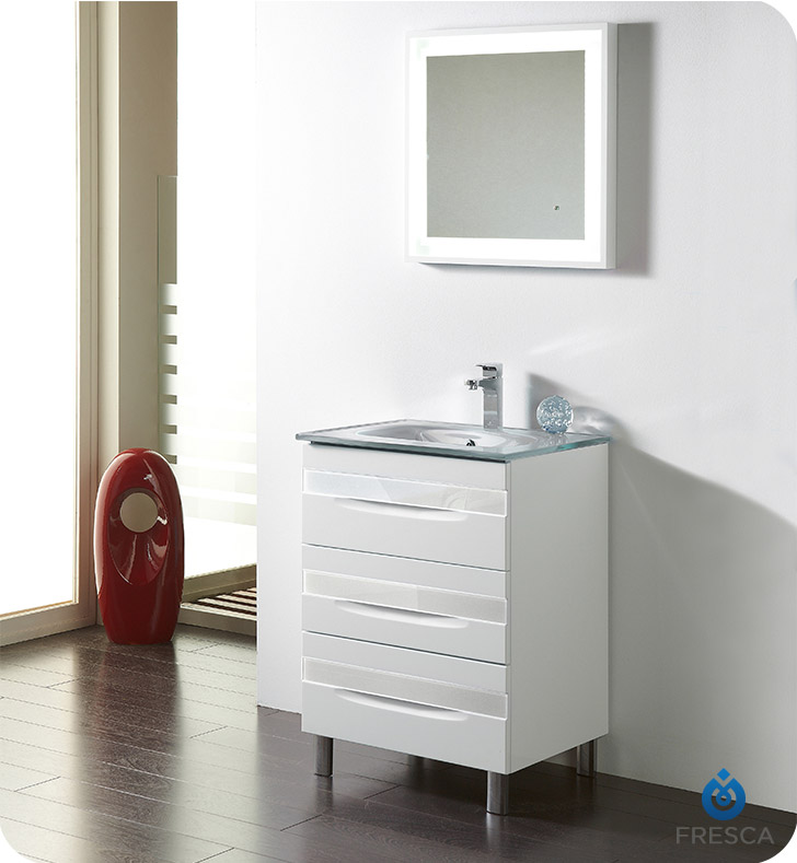 "Fresca Platinum FPVN7562-WH-GR-WH Giocco 24"" White Modern Bathroom Vanity With Vanity Handles: Fresca Platinum Giocco Glass Handles in White Finish x 3 And Faucet: No Faucet"