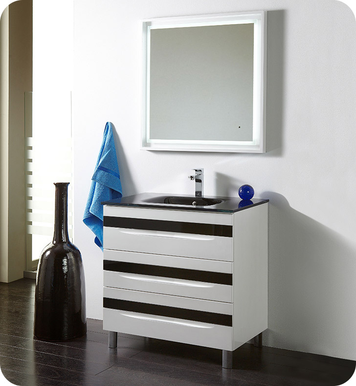 "Fresca Platinum FPVN7564-WH-BL-BL Giocco 32"" Glossy White/Black Modern Bathroom Vanity With Vanity Handles: Fresca Platinum Giocco Glass Handles in Black Finish x 3 And Faucet: No Faucet"