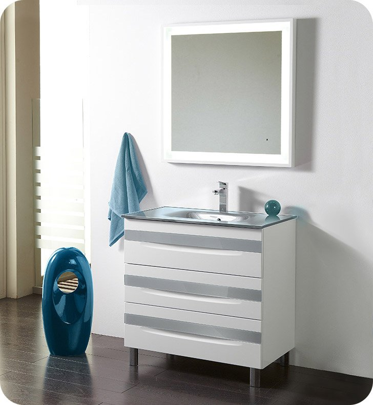 "Fresca Platinum FPVN7564-WH-GR-GR Giocco 32"" Glossy White/Gray Modern Bathroom Vanity With Vanity Handles: Fresca Platinum Giocco Glass Handles in Gray Finish x 3"