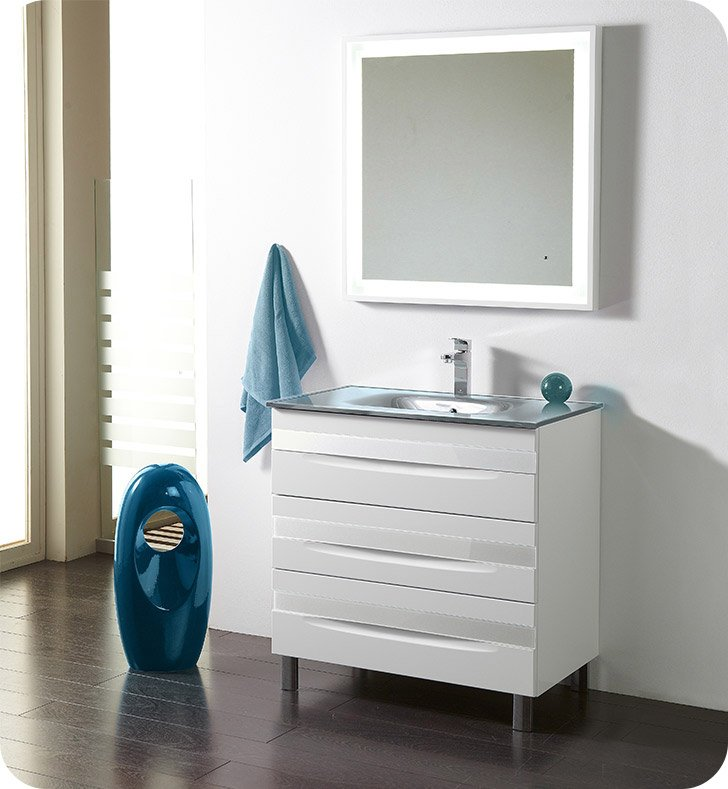 "Fresca Platinum FPVN7564-WH-GR-WH Giocco 32"" Glossy White Modern Bathroom Vanity With Vanity Handles: Fresca Platinum Giocco Glass Handles in White Finish x 3 And Faucet: No Faucet"