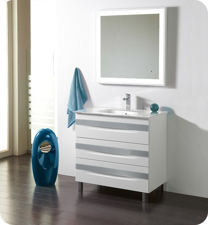 "Fresca Platinum FPVN7564-WH-WH-BU Giocco 32"" Glossy White/Blue Modern Bathroom Vanity With Vanity Handles: Fresca Platinum Giocco Glass Handles in Blue Finish x 3"
