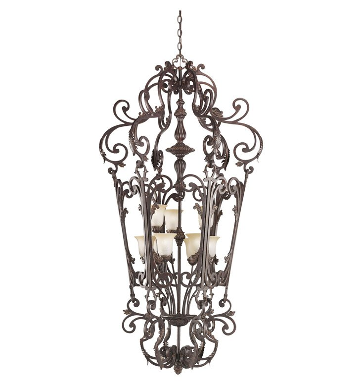 Kichler 2472CZ Wilton Collection Chandelier Foyer Cage 9 Light in Carre Bronze