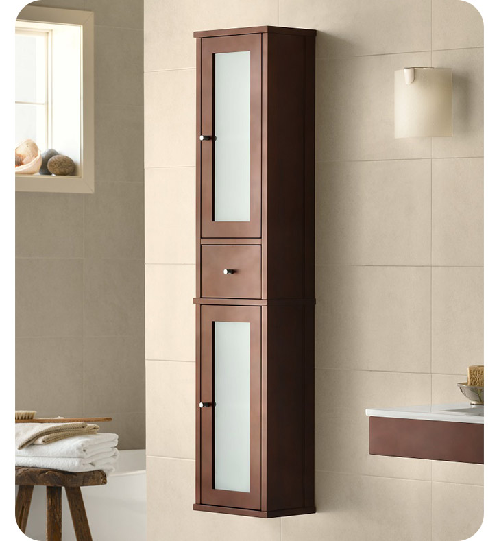 "Ronbow 687156-H01 Tall 55"" Bathroom Wall Cabinet In Dark Cherry"