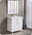 "Fresca Platinum FPVN7832WH Due 32"" Glossy White Bathroom Vanity"