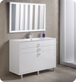 "Fresca Platinum FPVN7848WH Due 48"" Glossy White Bathroom Vanity"