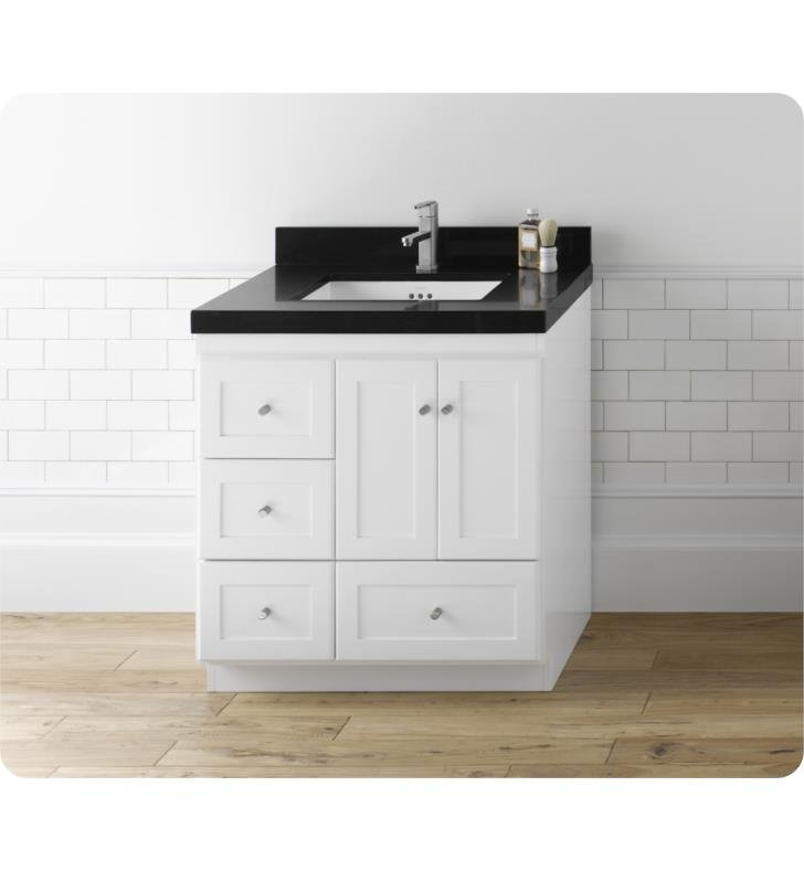 Ronbow 081930 3r W01 Shaker Modular 30 Bathroom Vanity Cabinet Base In White Wood Doors On Right