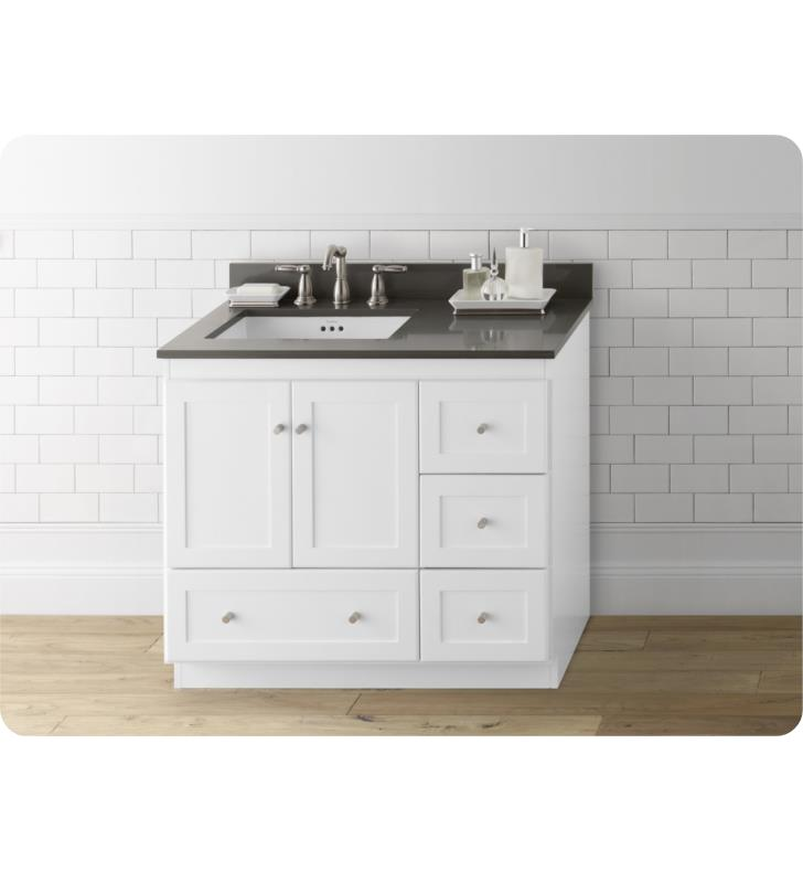 Ronbow 081936 3l W01 Shaker Modular 36 Bathroom Vanity Cabinet Base In White Wood Doors On Left