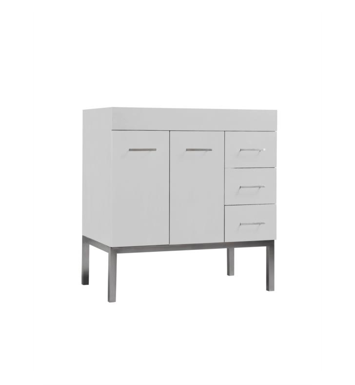 Ronbow 037031 6l W01 Venus Contempo 31 Bathroom Vanity Base Cabinet In White Doors On Left Metal Legs